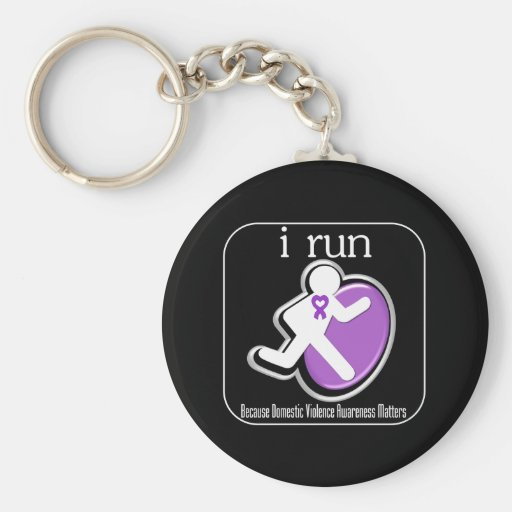 i Run Because Domestic Violence Awareness Matters Keychain