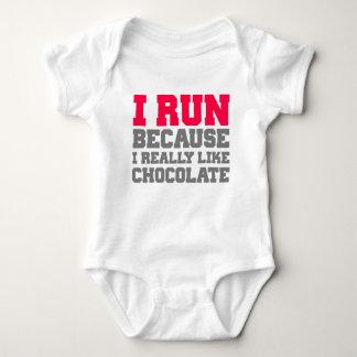 I RUN BECAUSE I REALLY LIKE CHOCOLATE gym workout Baby Bodysuit