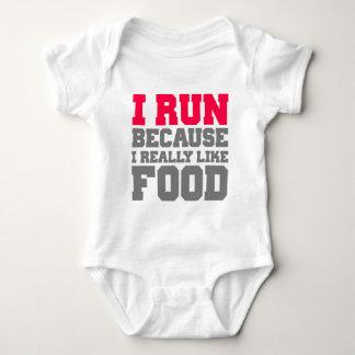 I RUN BECAUSE I REALLY LIKE FOOD gym workout Baby Bodysuit