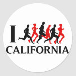 I RUN CALIFORNIA CLASSIC ROUND STICKER