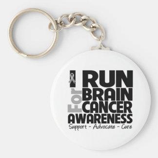 I Run For Brain Cancer Awareness Keychain