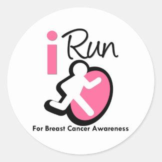 I Run For Breast Cancer Awareness Sticker