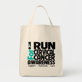 I Run For Cervical Cancer Awareness Grocery Tote Bag