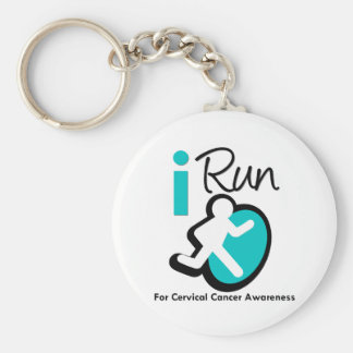 I Run For Cervical Cancer Awareness Basic Round Button Keychain