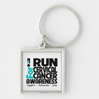 I Run For Cervical Cancer Awareness Silver-Colored Square Keychain