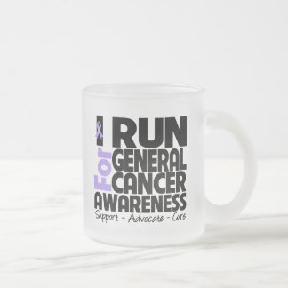 I Run For General Cancer Awareness 10 Oz Frosted Glass Coffee Mug