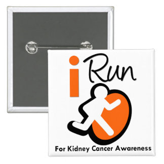 I Run For Kidney Cancer Awareness (Orange) 2 Inch Square Button