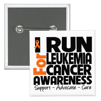 I Run For Leukemia Cancer Awareness 2 Inch Square Button