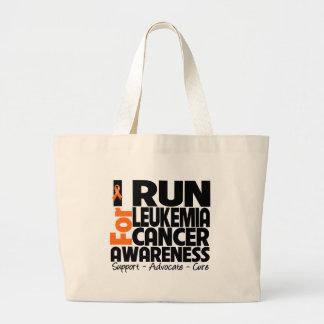 I Run For Leukemia Cancer Awareness Jumbo Tote Bag