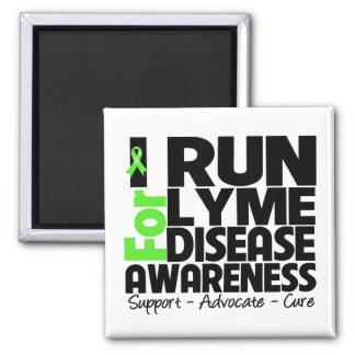I Run For Lyme Disease Awareness 2 Inch Square Magnet