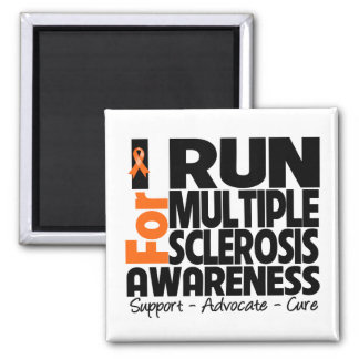 I Run For Multiple Sclerosis Awareness 2 Inch Square Magnet
