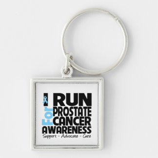 I Run For Prostate Cancer Awareness Silver-Colored Square Keychain