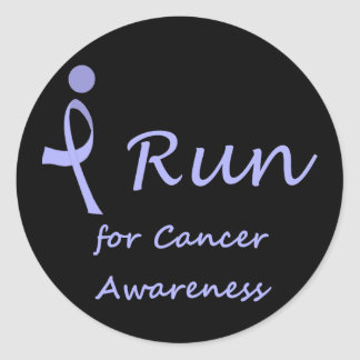 I Run - Lavender Ribbon General Cancer Classic Round Sticker