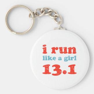 i run like a girl 13.1 basic round button keychain