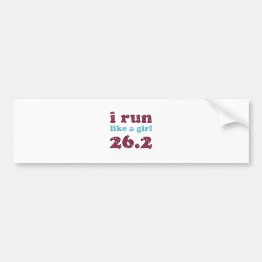 i run like a girl 26.2 bumper sticker