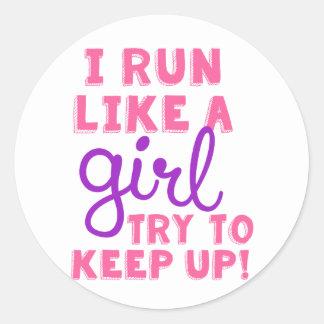 I Run Like a Girl Classic Round Sticker