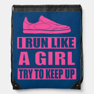 I Run Like a Girl Drawstring Bag