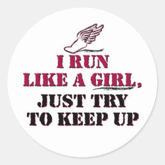 I run like a girl (red) classic round sticker