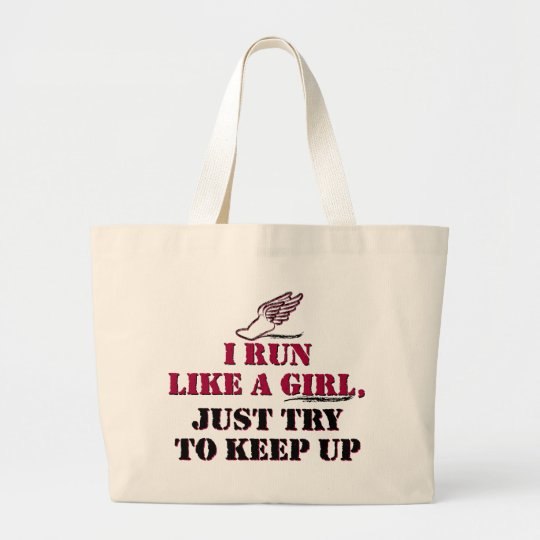 I run like a girl (red) large tote bag