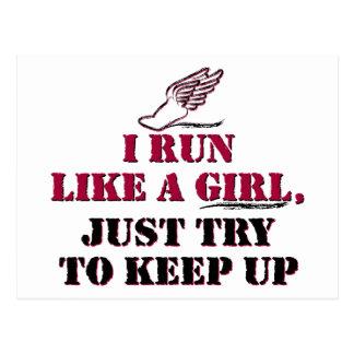 I run like a girl (red) postcard