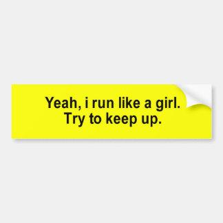 i run like a girl t-shirt car bumper sticker