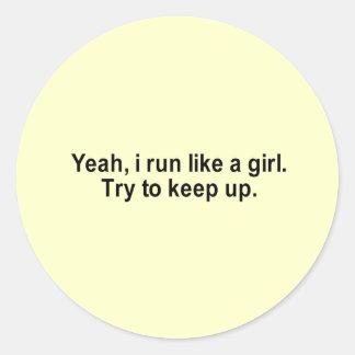 i run like a girl t-shirt classic round sticker