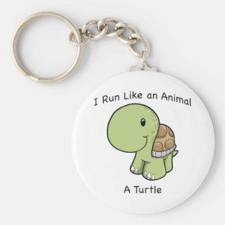 I run like an animal - a turtle basic round button keychain