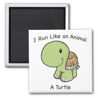 I run like an animal - a turtle 2 inch square magnet