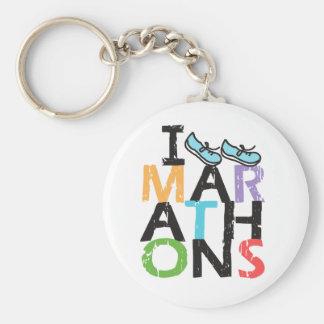 I run Marathons! Basic Round Button Keychain
