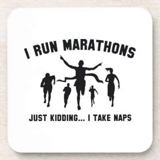 I Run Marathons Beverage Coaster