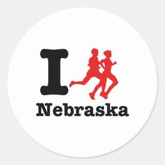 I run Nebraska Classic Round Sticker