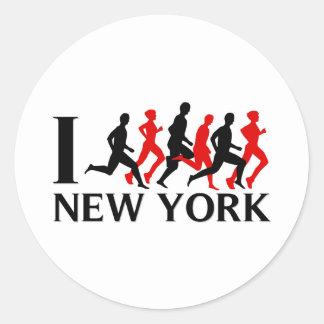 I RUN NEW YORK CLASSIC ROUND STICKER