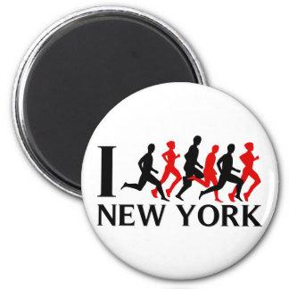 I RUN NEW YORK 2 INCH ROUND MAGNET
