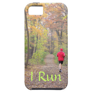 """""""I RUN"""" (PHOTO OF PERSON RUNNING IN WOODS IN FALL) iPhone SE/5/5s CASE"""