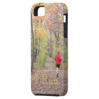 """""""I RUN""""(PHOTOG. PERSON RUNNING IN WOODS IN FALL) iPhone 5 COVERS"""