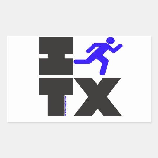 I run Texas. blue and black. Rectangular Sticker