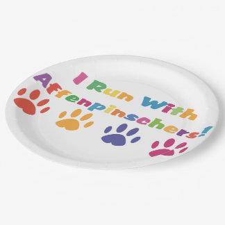 I Run With Affenpinschers Paper Plate