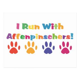 I Run With Affenpinschers Postcard