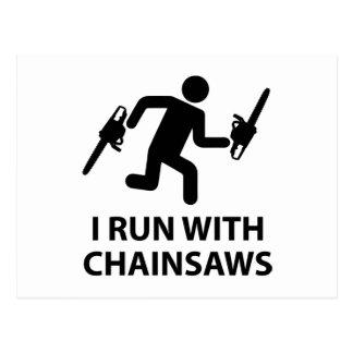I Run With Chainsaws Postcard