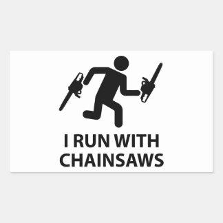 I Run With Chainsaws Rectangular Sticker