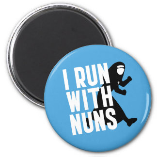 I Run with Nuns 2 Inch Round Magnet