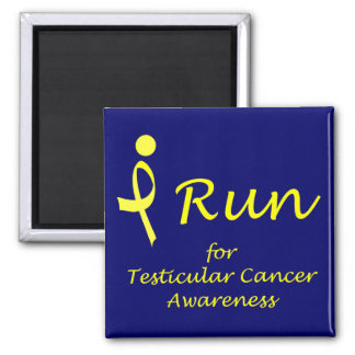 I Run - Yellow Ribbon 2 Inch Square Magnet