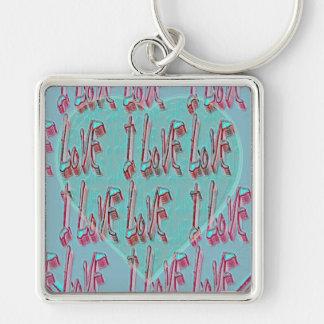 - I Ruv Ruv -SHECKSHE.COM-SheckShe* Heart- Silver-Colored Square Keychain
