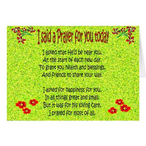 I said a prayer for you today card