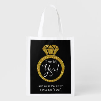 I Said Yes! Faux-Glitter Gold Ring Bride-To-Be Bag Reusable Grocery Bag