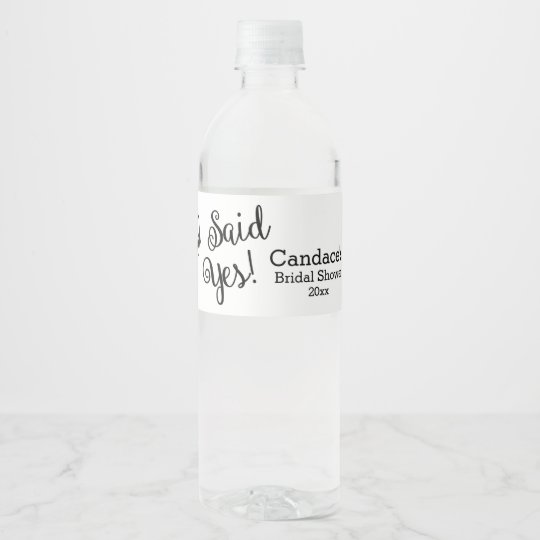 i said yes modern bridal shower water bottle label
