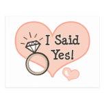 I Said Yes Wedding Announcement Postcard