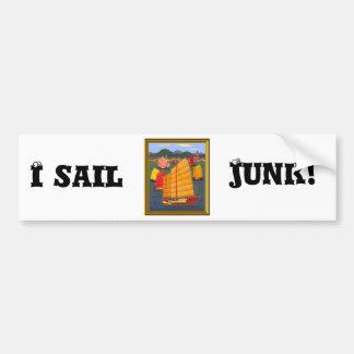 I sail junk! bumper sticker
