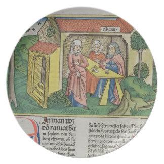 I Samuel 1:8 Elkanah comforts Hannah, from the 'Nu Dinner Plate