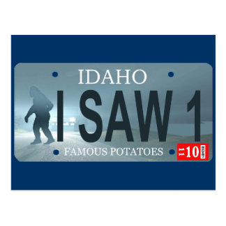 """I Saw 1"" Sasquatch License Plate Postcard"